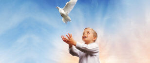 child freeing the dove